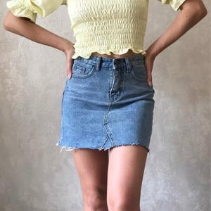 Image 1 - Hzirip Summer Fashion High Waist Skirts Womens Pockets Button Denim Skirt Female Saias 2020 New All matched Casual Jeans Skirt