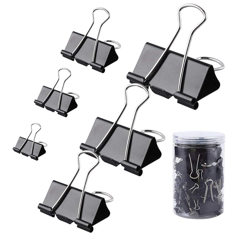 130 Pcs Assorted Sizes Binder Clips Big Paper Clamps Metal Fold Back Clips For Office School And Home Supplies, Black