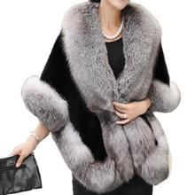 2019 Autumn Winter Women Faux Fox Fur Poncho Cape Fashion Lady Shawl Cape Thick Warm Batwing Sleeve Fur Vest Coat Casual batwing sleeve wool cape coat