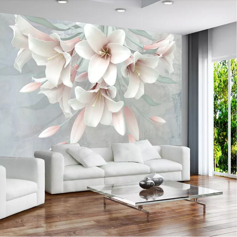 New Style American-Style Village Flower 3D Oil Painting Relief Flower Wallpaper Mural Sofa Bedroom TV Backdrop Wall Cloth