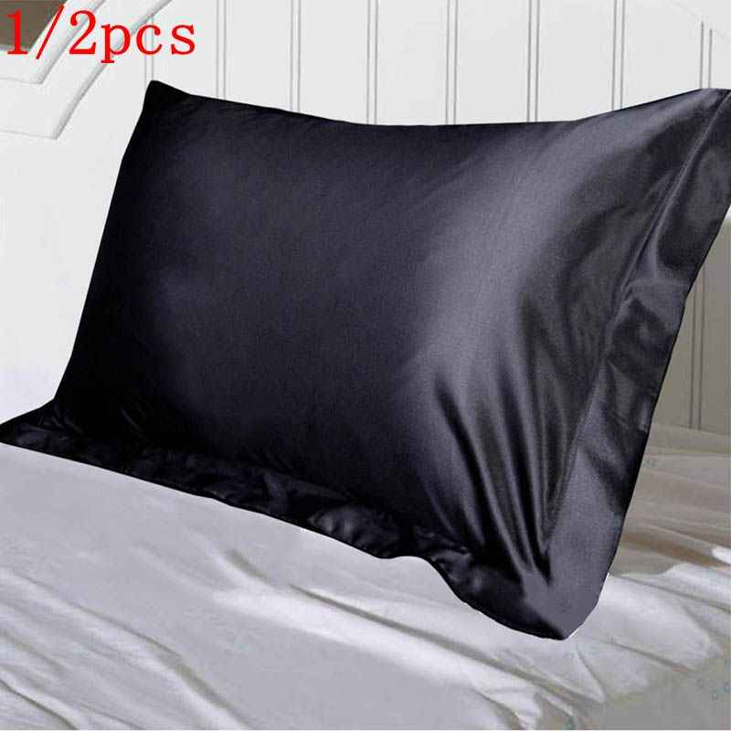 1/2pcs Emulation Silk Satin Pillowcase Single Solid Color Pillow Covers Luxury Pillow Case For Bed Throw Comfortable 48x74cm