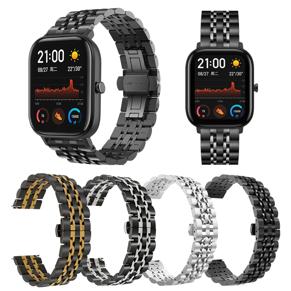 Stainless Steel Watchband For Xiaomi Huami Amazfit GTR 47mm 42mm/GTS Watch Band For Amazfit Bip/Stratos 3 2 Metal Classic Strap