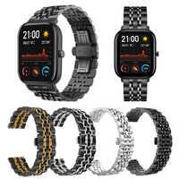 Ze stali nierdzewnej watchband dla xiaomi Huami Amazfit GTR 47mm 42mm/GTS pasek dla Amazfit bip/ stratos 3 2 metalowe klasyczny pasek