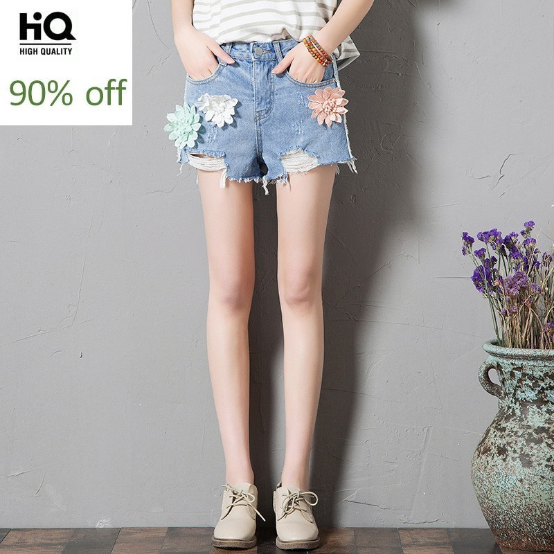 2020 New Fashion Summer Women's Shorts Mid Waist Hole Ripped Jeans Female Short Embroidery Floral Loose Fit Denim Trousers Woman