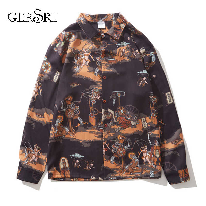 Gersri חולצה גברים אביב סתיו הדפסה ארוך שרוול מזדמן חולצות בתוספת גודל Camisa Masculina החברתי באיכות גבוהה אופנה חולצה