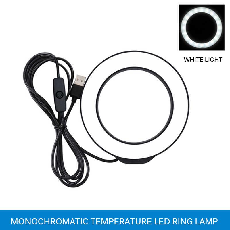 12cm LED Selfie lumière annulaire pour caméra photographie vlog Dimmable Studio Photo 6500K pour Iphone éclairage supplémentaire Selfie