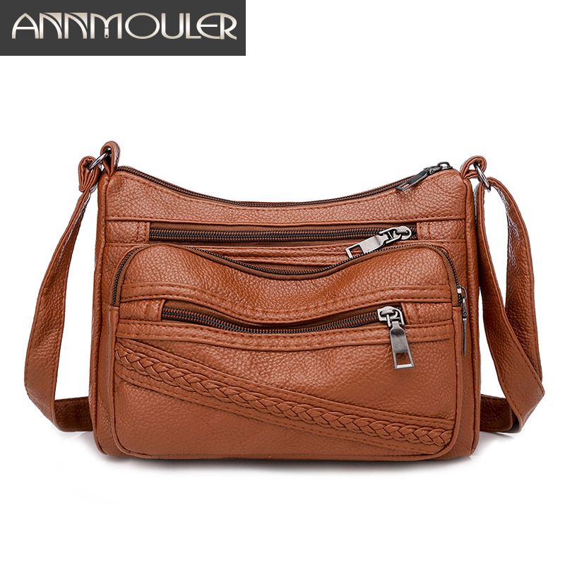 Annmouler New Women Handbag Pu Leather Brown Shoulder Bag Soft Leather Crossbody Bag Pockets Messenger Bag For Girl Purse