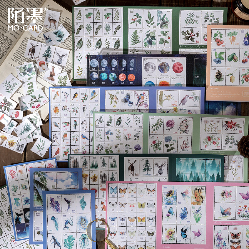 Retro Style Nature Collection Imitation Stamp Paper Stickers Scrapbooking Diy Stickers Diary Station