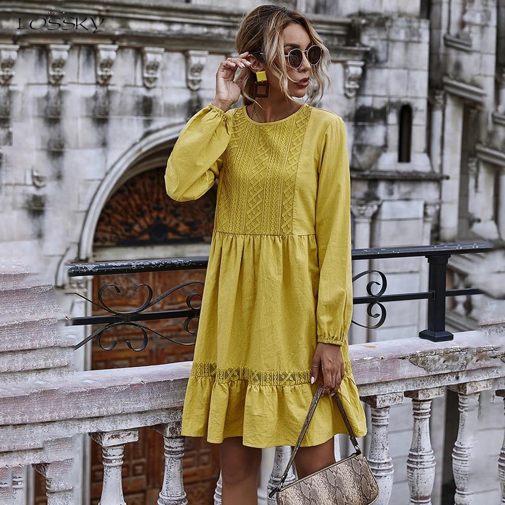 Vestito Da donna Autunno Inverno Casual Del Merletto di Cucitura di Colore Giallo A Manica Lunga Allentati Abiti Vintage Per Le Donne Vestiti 2020 Delle Signore