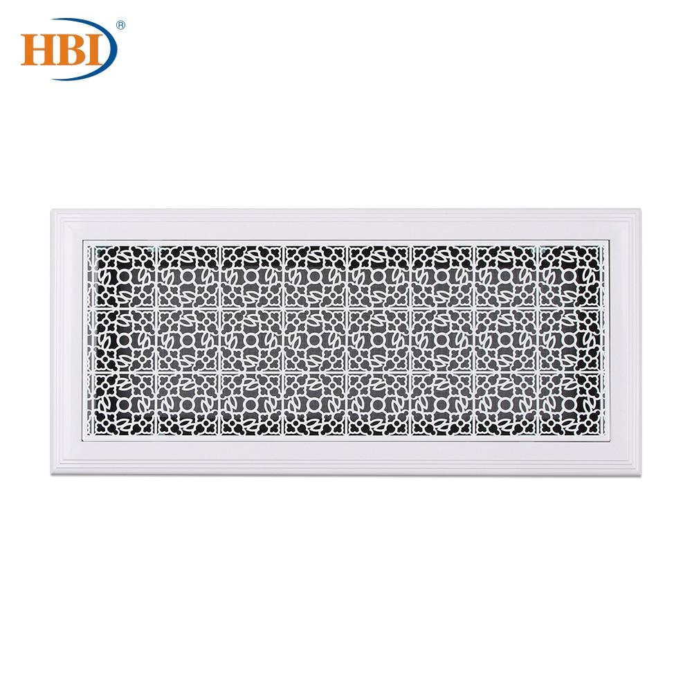 500mm X 200mm Flower-Pattern White Rectangular Plastic Frame Steel Decorative Return Air Grille Vent Retro Style Air Register