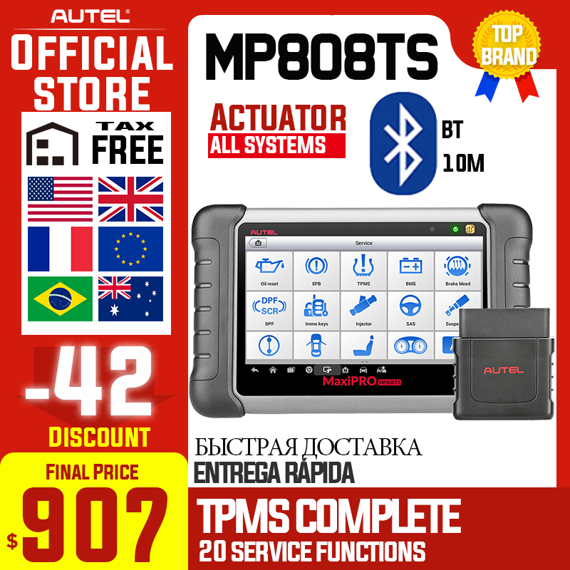 Autel MaxiPRO MP808TS herramienta de diagnóstico escáner automotriz OBD2 OBD 2 todos los sistemas agregar la función TPMS mejor que MK808 MK808TS AP200 Nuevo adaptador Bluetooth V1.5 Elm327 Obd2 Elm 327 V 1,5, escáner de diagnóstico para automóvil para Android Elm-327 Obd 2 ii, herramienta de diagnóstico para coche
