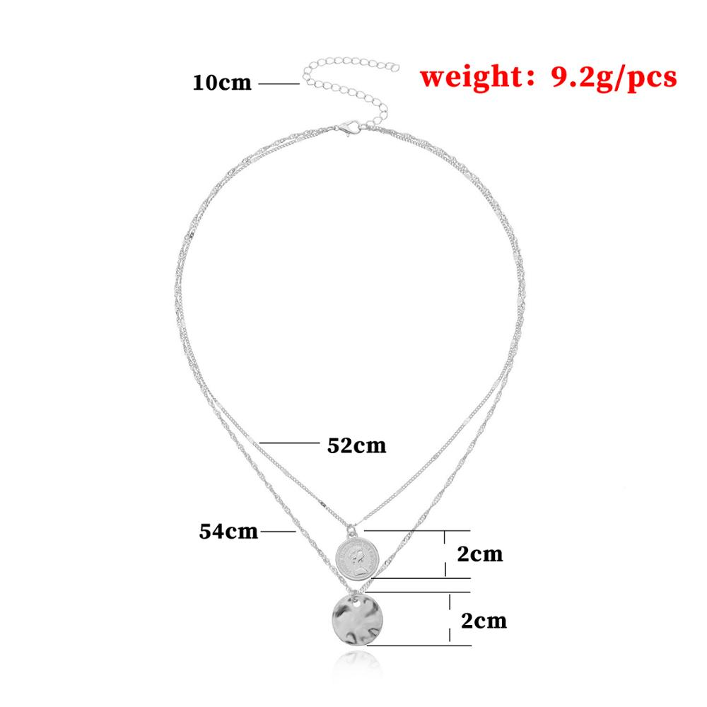 2Pcs/Set Beauty Queen Head Choker Necklace Collar Gold Color Geometric Carved Coin Pendant Multi Layered Necklaces Women Jewelry