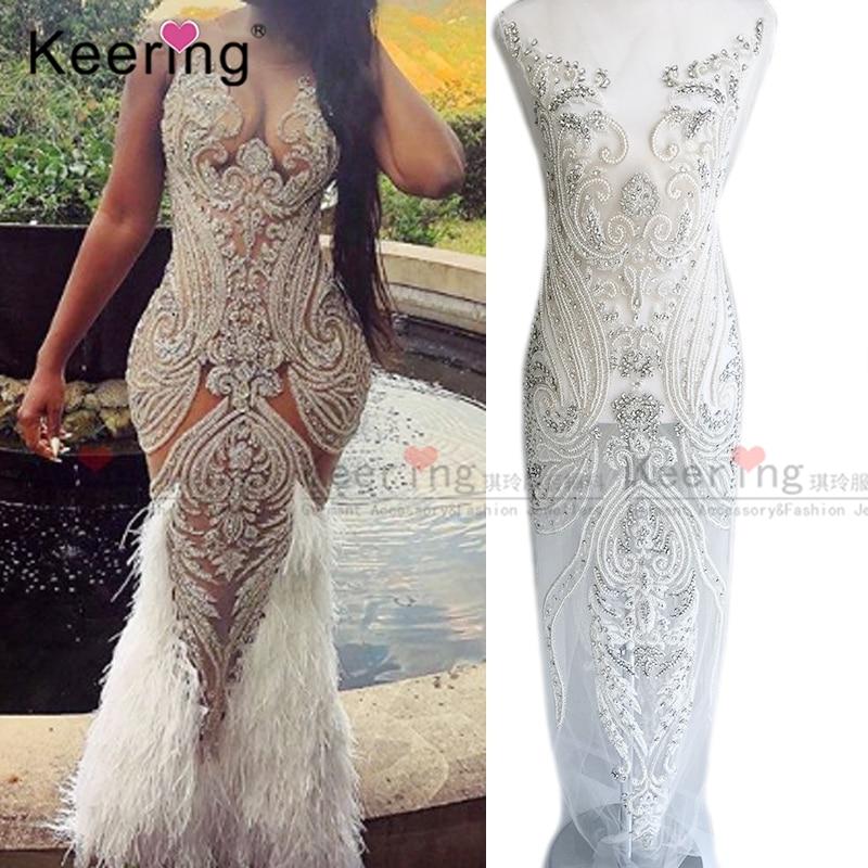 Conceptions de appliques perlées de mariée personnalisées haut de gamme pour WDP-069 de robe