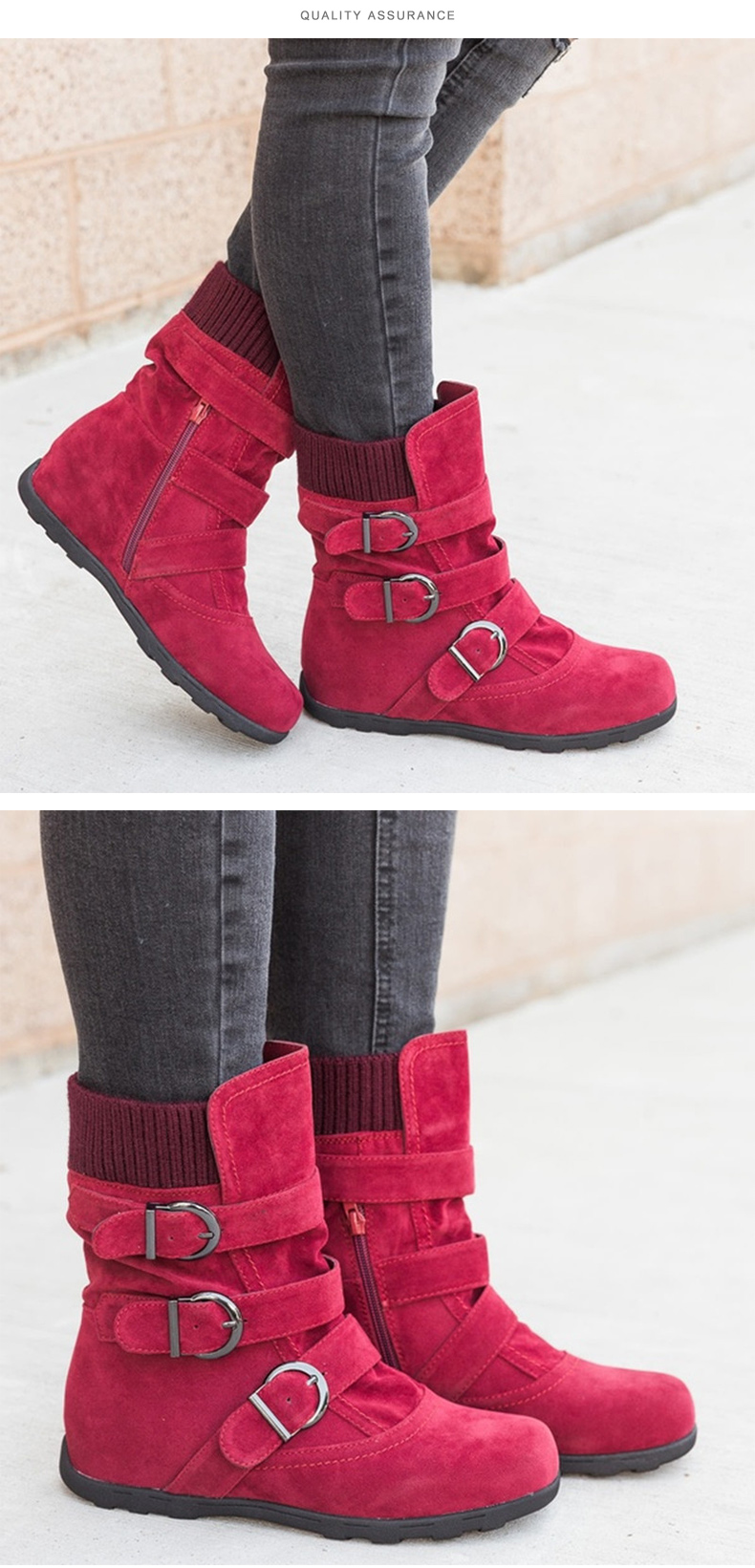 Woman boots Plus Size 43 winter boots woman 2019 Boots Rubber Non slip Snow boots Belt buckle Ankle boots for women 28