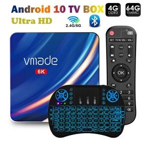 Vmade t1 smart android 10 caixa de tv 6k hd 64g duplo wifi 2.4g 5g bluetooth conjunto rápido caixa superior tv receptor suporte google store youtube