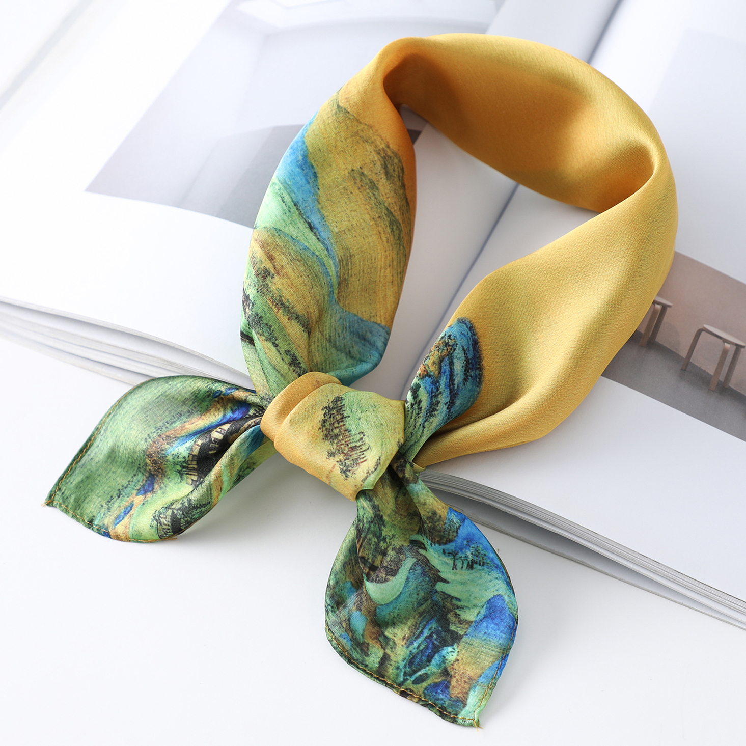 Silk Neck Scarf For Women Floral Print Shawls And Wraps Hair Band Accessories Tie Femmel Foulard Square Scarves Bandana
