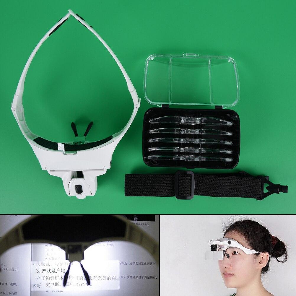 1PC Frame Headband Eye Magnification Magnifying Glasses With LED Light For Beauty Tattoo Graft Eyelash