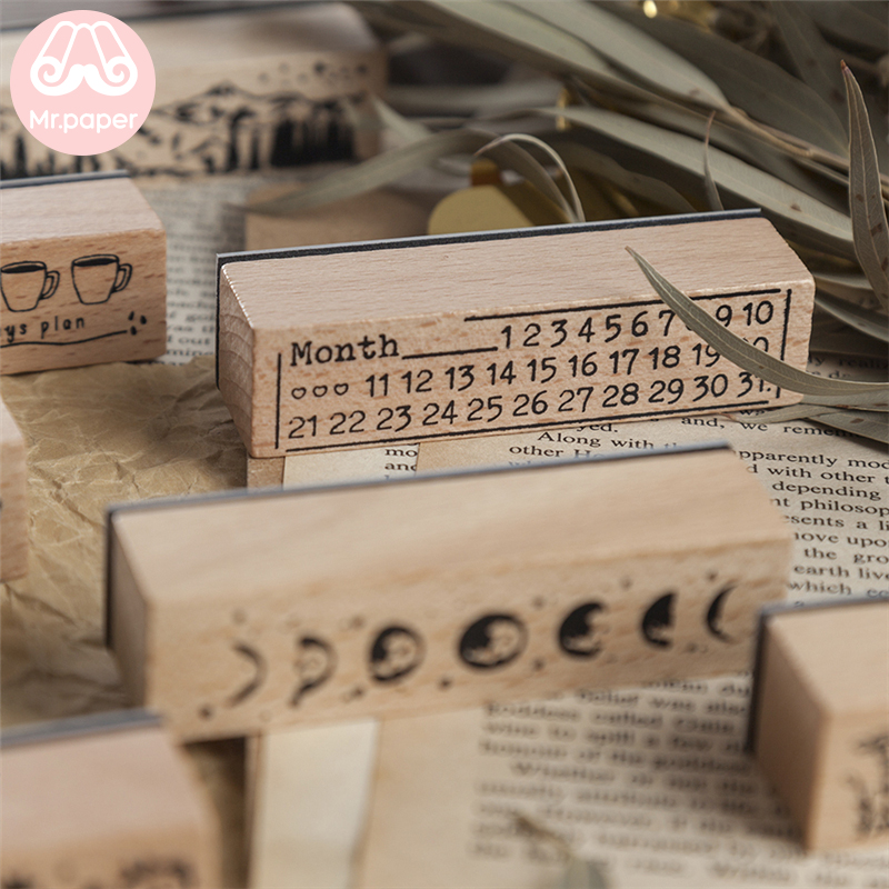Mr Paper 12 Designs Planet Moon Flowers Number Piano Wooden Rubber Stamp for Scrapbooking DecoDIY Craft Standard Wooden Stamps 2
