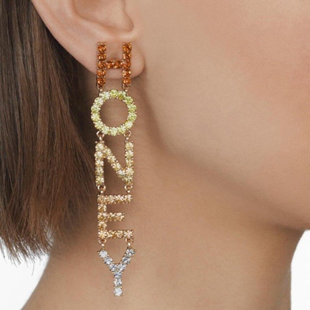 Best lady Fashion Crystal Letter Drop Earrings Women Wedding Bohemian Eyes Girls Party Gift Dangle Statement Earring Accessories