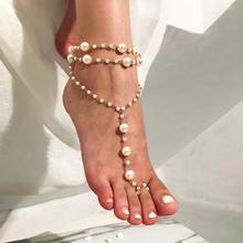 2PCS Bohemia Multilayer Simulated Pearl Anklet Bracelet Summer Charm Toe Anklet Barefoot Sandal Beach Foot Jewelry for Women chic faux pearl tassel elastic anklet for women
