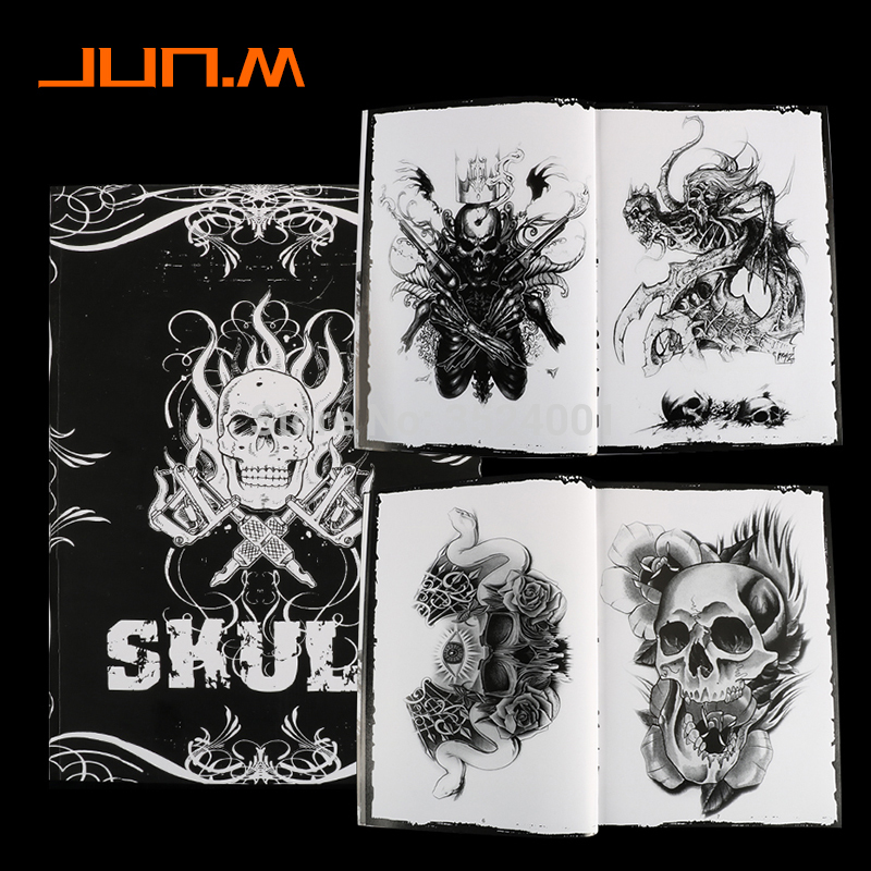 Newst 76 Pages A4 Tattoo Book Black Sexy Skull Design Sketch Flash Book Tattoo Flash Sketchbook Free Shipping B5-in Tattoo accesories from Beauty & Health
