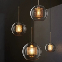 Nordic Modern Pendant Lights Loft Led Glass Ball Hanging Lam