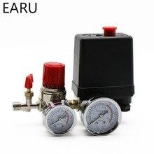 Válvula de controle de pressão 240v, regulador ac, compressor de ar resistente, interruptor de controle de pressão, 4 portas, válvula de controle de bomba de ar, 7.25 125 psi com medidor