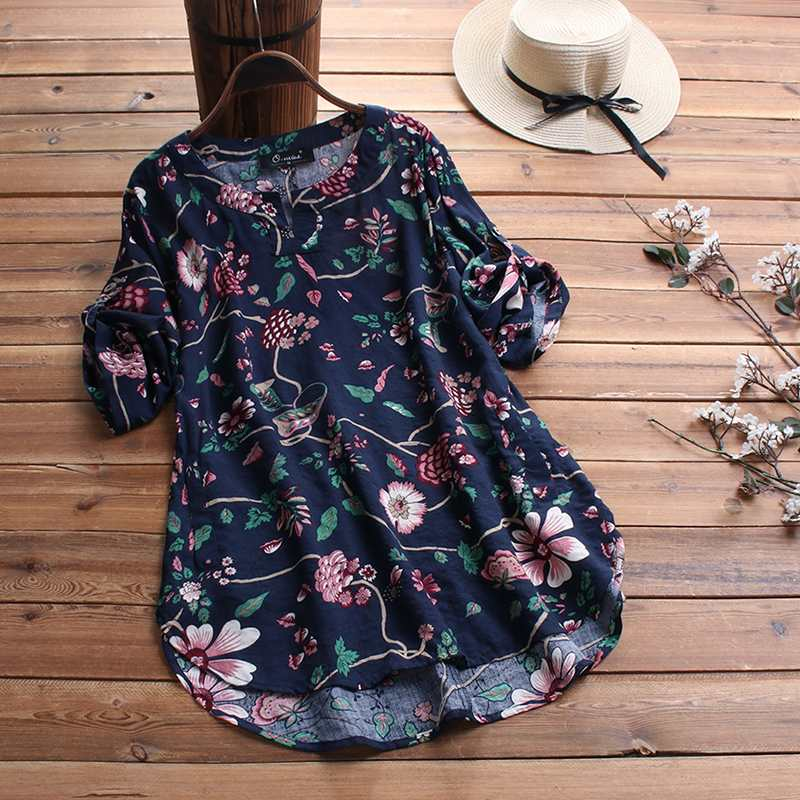 ZANZEA Summer Vintage Floral Printed Blouse Women Short Sleeve Tops Casual Loose Blusas Femme Robe Tunic Top Baggy Shirt Chemise