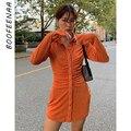 BOOFEENAA Feste Taste Up Langarm Shirt Kleid für Frau Casual Sexy Mini Kleider Elegante Vestidos Grün Orange C92-DA33