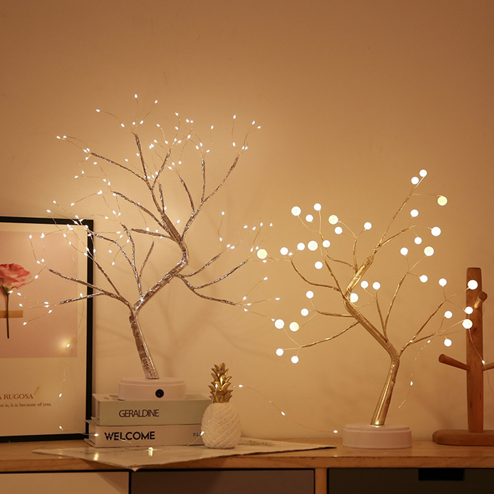 36/108 LED USB Battery Power Touch Switch Tree Light Night Fairy Light Table Lamp For Home Bedroom Wedding Party Christmas Decor