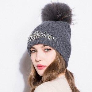 Image 3 - GZHILOVINGL Flower Womens Hats With Pom pom Winter Thick Knitted Hats Big Rhinestone Warm Wool Cross Striped Cap Gorros 61122