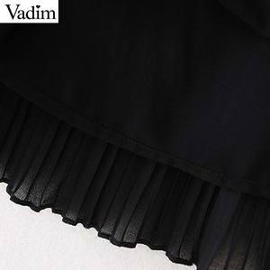Image 5 - Vadim mulheres couro do plutônio chiffon mini vestido plissado sem mangas feminino casual vestidos pretos chique com decote em v vestidos elegantes qc815