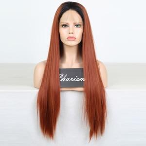 Image 2 - Charisma ยาวตรงทองแดงสีแดง Wigs ด้านหน้าลูกไม้สังเคราะห์ด้านหน้าวิกผมอุณหภูมิสูงวิกผมผมแฟชั่นผู้หญิงกลาง