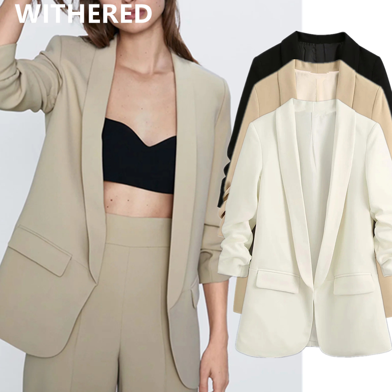 Withered England Simple Office Lady Solid Shawl Collar Roll Up Sleeve Blazer Women Blazer Mujer 2020 Women Blazers And Jackets