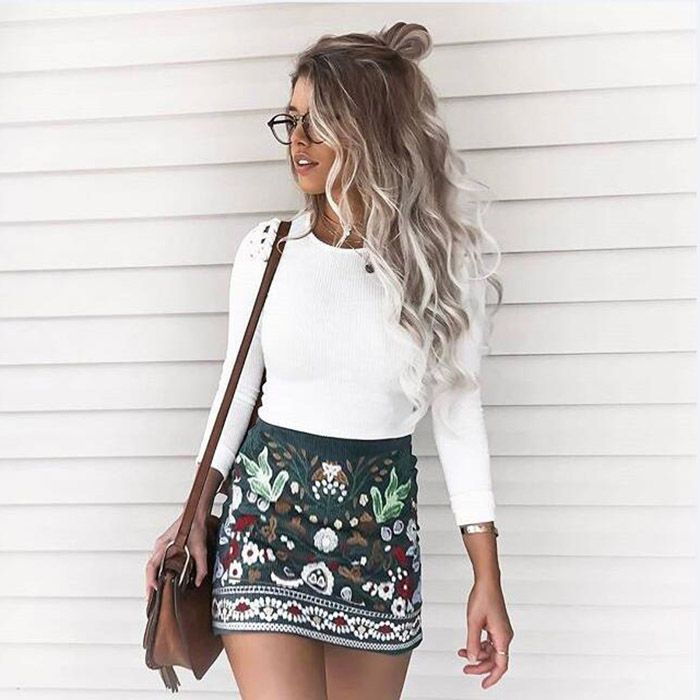 Hot Women High Waist Floral Printed Short A-Line Skirt Bodycon Zipper Mini Skirts IE998