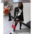 RMSFE 2020 женское блестящее Бандажное мини-платье с буквенным принтом и круглым вырезом, с длинным рукавом, спортивное повседневное платье, мод...