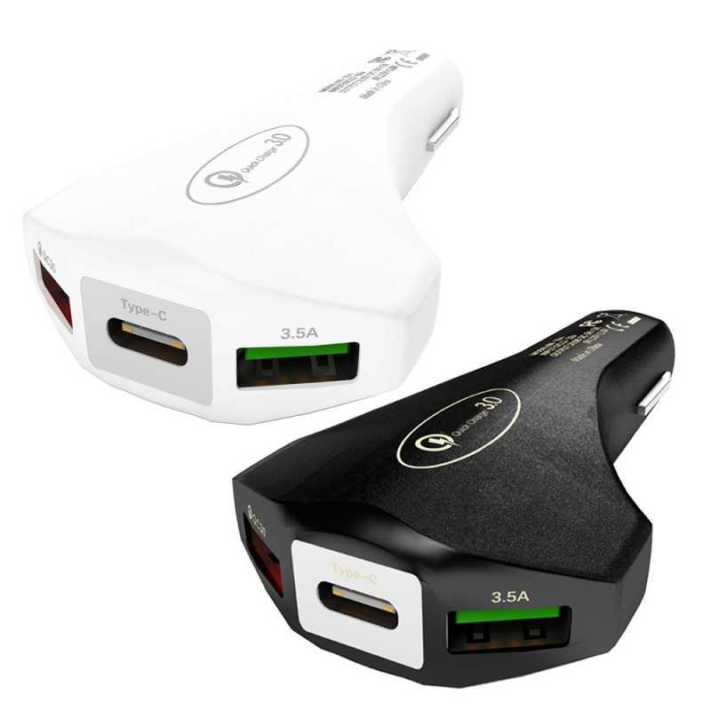 شاحن هاتف سيارة QC 3.0 بقوة 40 واط ومنفذ USB مزدوج بقدرة 7.0A مع شحن سريع من النوع C لهواتف iPhone وهاتف شاومي