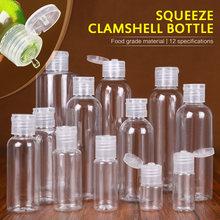 Garrafas recarregáveis plásticas claras vazias embalam recipientes cosméticos vazios da tampa superior da aleta da garrafa do clamshell