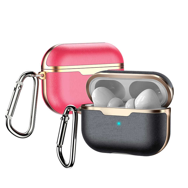 Funda de cuero PU para Airpods Pro Drop Protection funda para Airpods 3 con llavero Hook Up TWS Pro funda coque