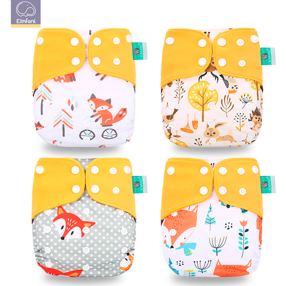 Elinfant Fashion New 4pcs/set Washable Coffee Mesh Cloth Diaper Cover Adjustable Nappy Reusable Cloth Pocket Diapers