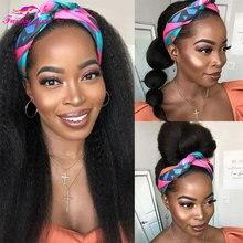 Headband Scarf Kinky Straight Wig Human-Hair Yaki Natural-Color Black-Women Peruvian