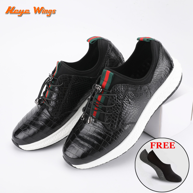 Luxury Leisure Sport Shoes For Men Siamese Crocodile Skin Quality Sneakers