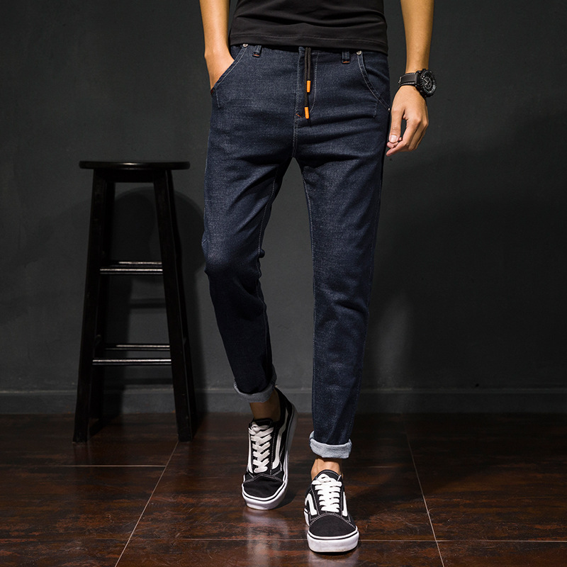 Handsome Trend Men's Teenager Simple Capri Pants Elasticity New Style Jeans With Drawstring Pull Feet 9 Points Jeans