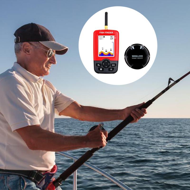 100m Wireless Smart Fish Finder Rechargeable Sonar Sensor Fishfinder Dot Matrix Echo Sounder Sea Lake Portable Sonar
