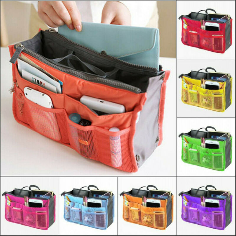 Hot Cosmetic Bag Handbag Nylon Solid Zipper Organiser Insert Liner Travel Bag Storage Purse Organizer Large Purse Box Cases