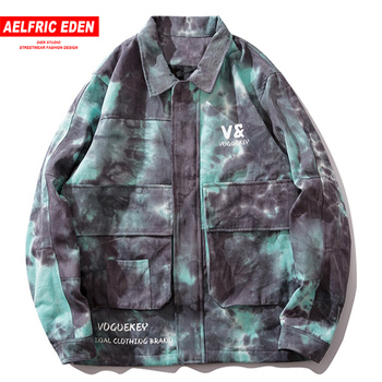 Aelfric Eden Tie Dyeing Letter Printed Cargo Mens Jackets 2019 Harajuku Fashion Streetwear Tops Hip Hop Casual Cotton Male Coats