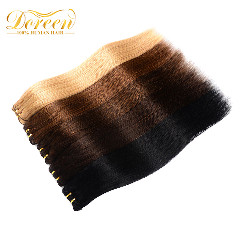 Doreen Full Head Brazilian Machine Made Remy Hair 120G #60 Blonde 16inch-22inch Natural Straight Clip In Human Hair Extensions
