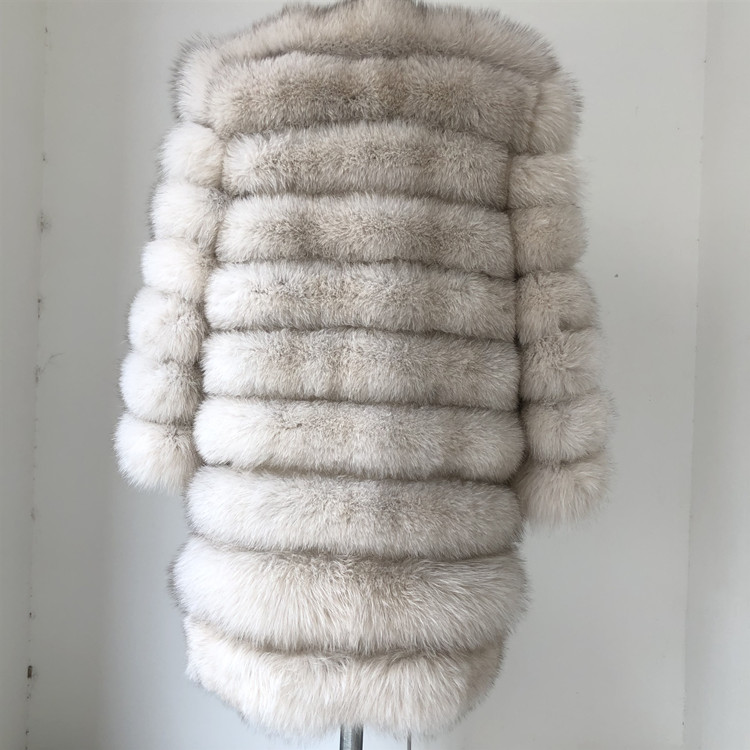 100% Natural Real Fox Fur Coat Women Winter Genuine Vest Waistcoat Thick Warm Long Jacket With Sleeve Outwear Overcoat plus size 61