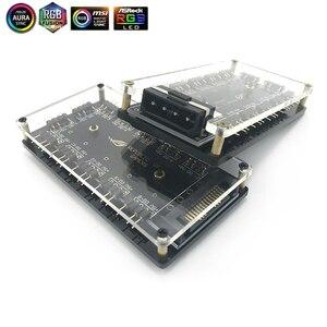 5V 3-pin RGB Hub interfejs Splitter do Port zasilania Molex 4 P/SATA ASUS AURA synchronizacji 3Pin wentylatora płyty głównej