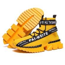 Zapatos de calcetín tejido voladores populares de moda Zapatillas de deporte altas antideslizantes para Hombre Zapatos casuales para Hombre